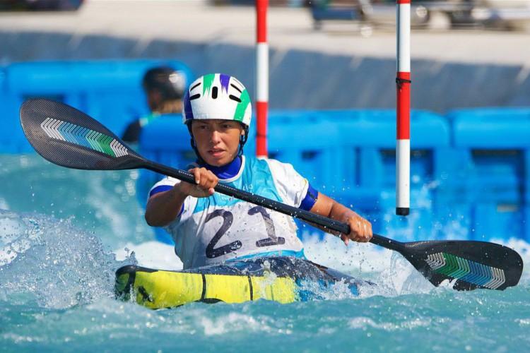 Ana Sátila ficou em 13º lugar na canoagem slalom K-1 na Olimpíada de Tóquio e está fora da final (Foto: ROB VAN BOMMEL/CBC)