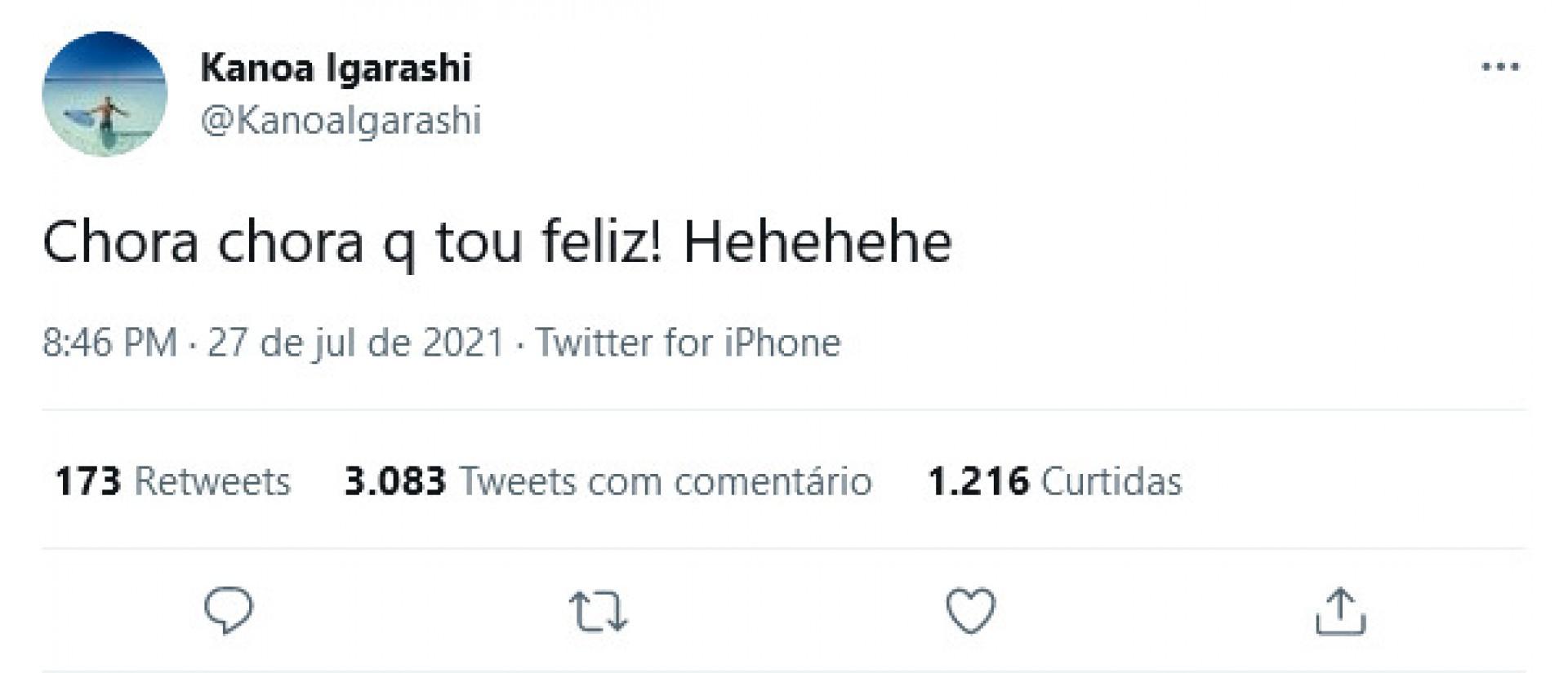 Comentário feito por Kanoa Igarashi ironizando brasileiros
