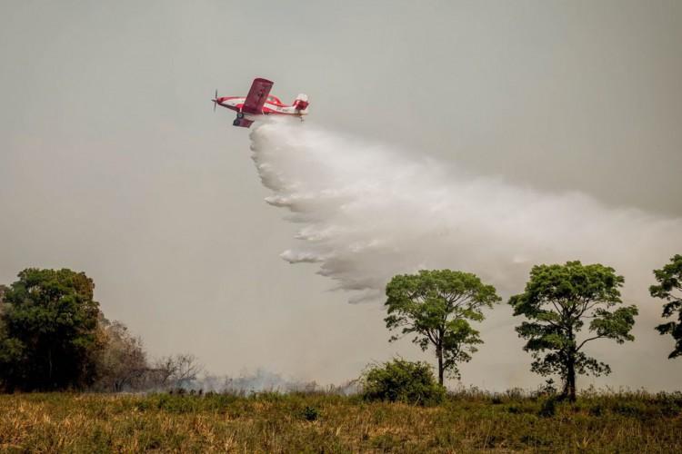 Ministro de Estado do Meio Ambiente, Sr. Ricardo de Aquino Salles faz verificação das atividades de combate ao incêndio no Pantanal (Foto: Christiano Antonucci /Secom - MT)