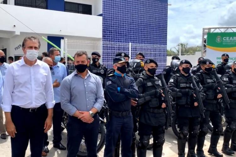 O governador Camilo Santana inaugurou base do Raio em Itaitinga (Foto: Foto: Reprodução/Redes sociais)