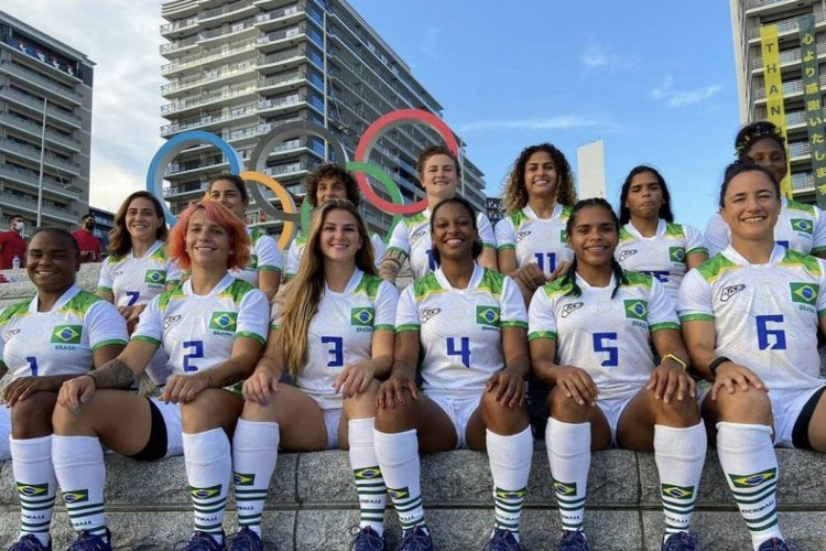 O Brasil perdeu para o Canadá na estreia do rúgbi sevens feminino nas Olimpíadas de Tóquio (Foto: Reprodução/Time Brasil)
