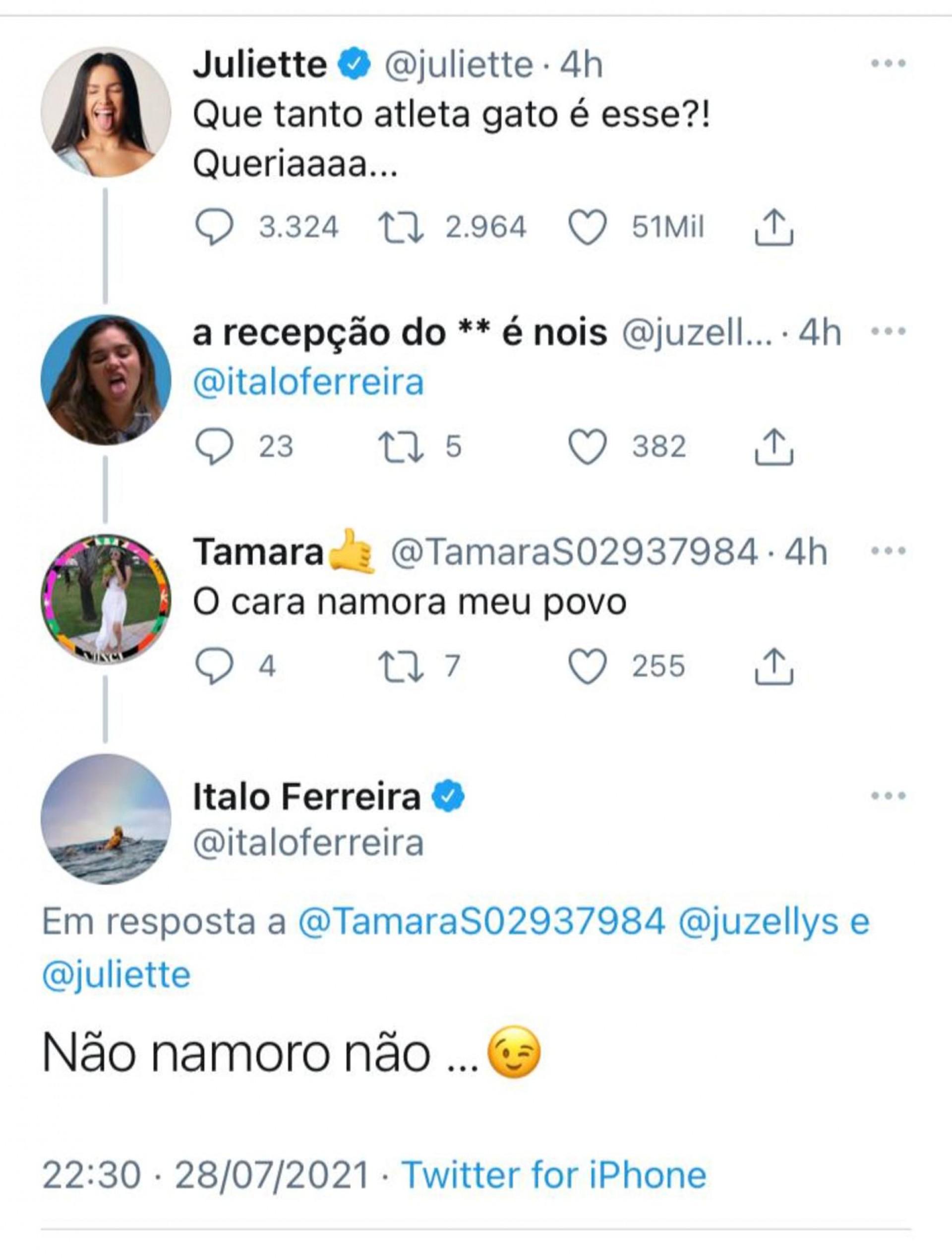 Captura de tela de suposta resposta de Ítalo Ferreira em publicação de Juliette Freire elogiando a beleza de atletas de Tóquio 2020