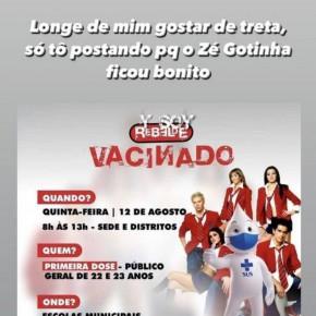Prefeitura de Sobral fez edição cômica com Zé Gotinha depois de polêmica envolvendo Christopher Von Uckermann, do RBD