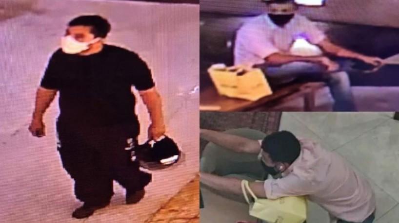 Um dos suspeitos (esquerda) vestia calças e blusa pretas, enquanto o segundo, que visto entrando na loja e anunciando o assalto, vestia calças jeans e blusa clara(foto: Reprodução/SSPDS)