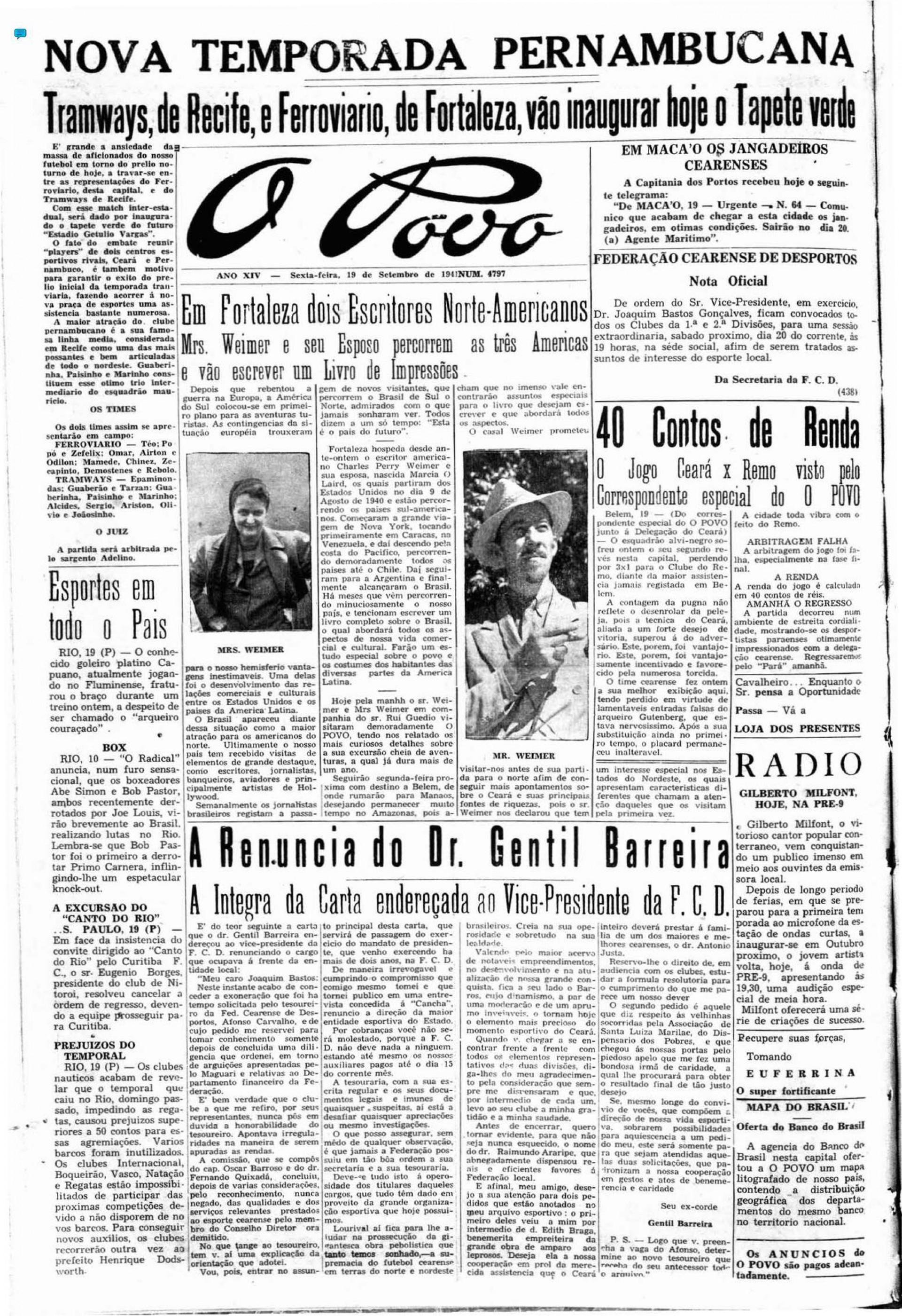 (Foto: Acervo Data.doc)19 de setembro de 1941 - Fortaleza se preparava para a primeira partida oficial no estádio Presidente Vargas (PV)