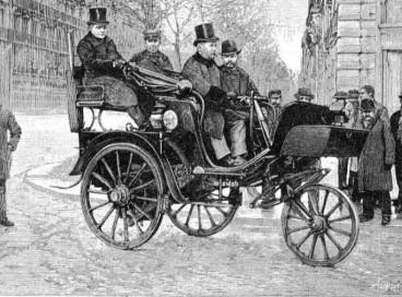 Na ocasião, o veículo dirigido por Olavo Bilac era um Serpollet a vapor de três rodas