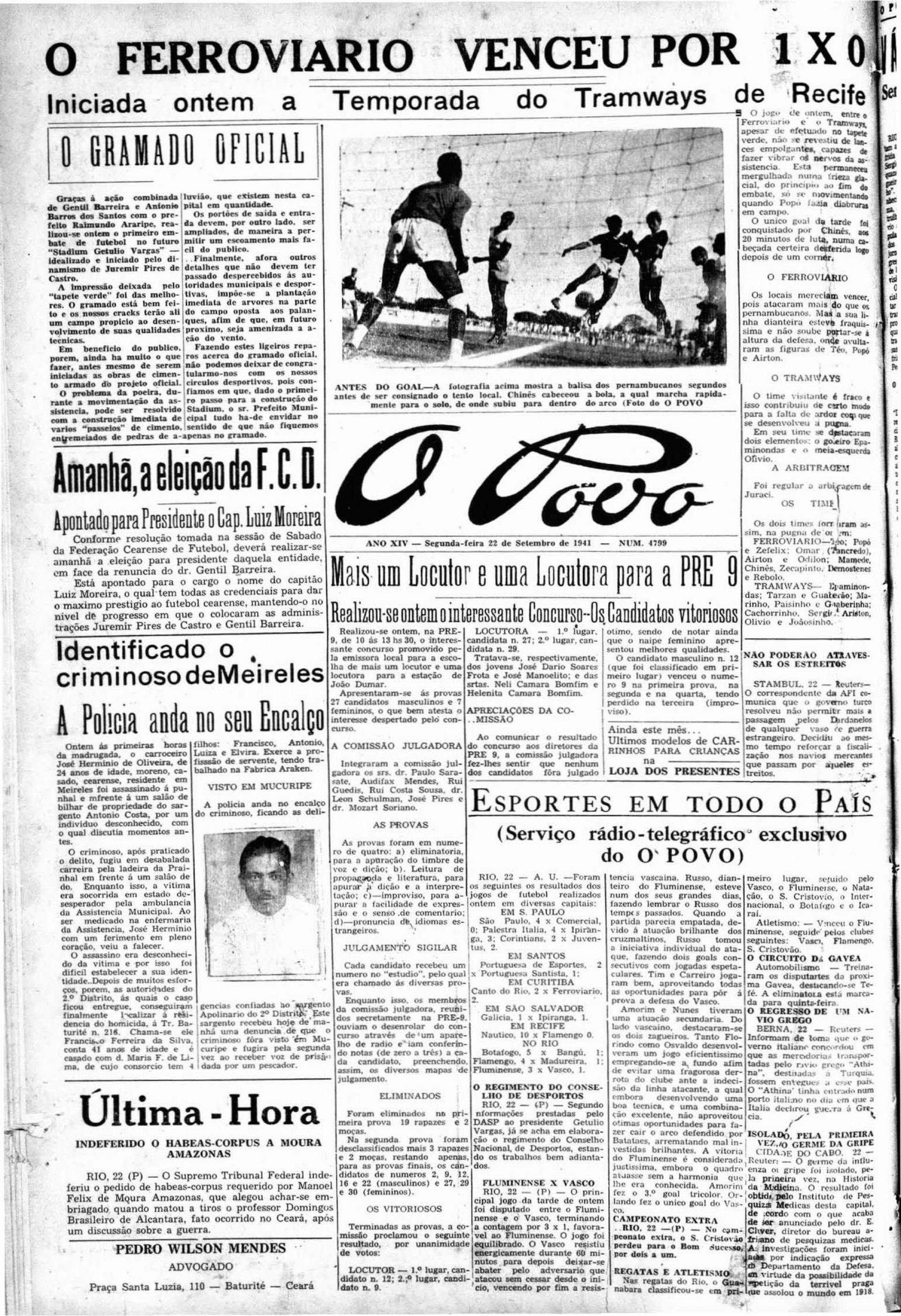 (Foto: Acervo Data.doc)22 de setembro de 1941, O POVO destaca a vitória do Ferroviário sobre o Tramways, na abertura do PV