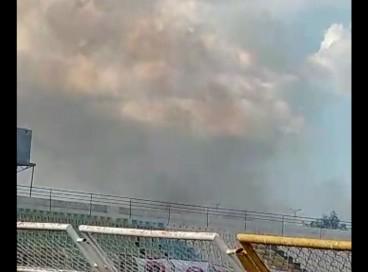 Incêndio foi registrado poucos minutos após início de partida válida pela série D do Brasileirão