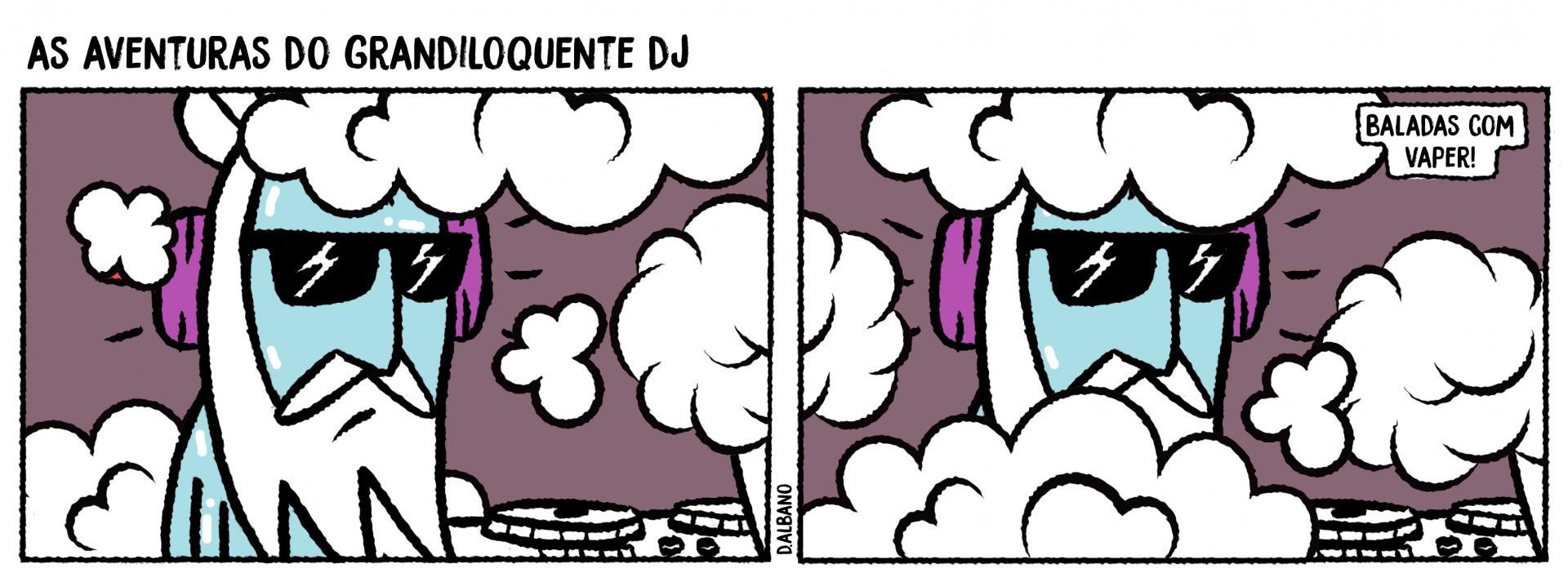 Tira As aventuras do grandiloquente DJ, de Denilson Albano, para o Vida&Arte