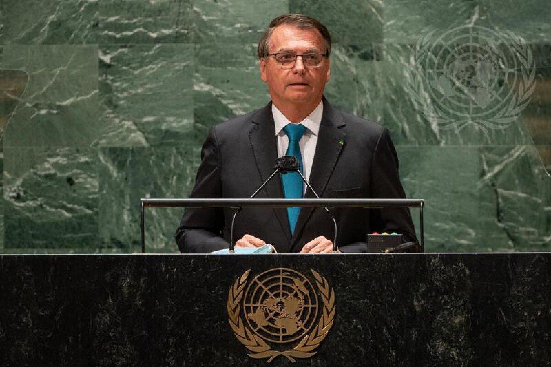 O presidente Jair Bolsonaro em um discurso na abertura da Assembleia Geral da ONU (Foto: Reprodução/Twitter)