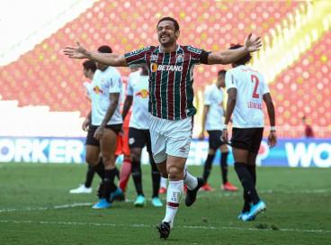 Atacante Fred comemora gol no jogo Fluminense x RB Bragantino, no Maracanã, pelo Campeonato Brasileiro Série A
