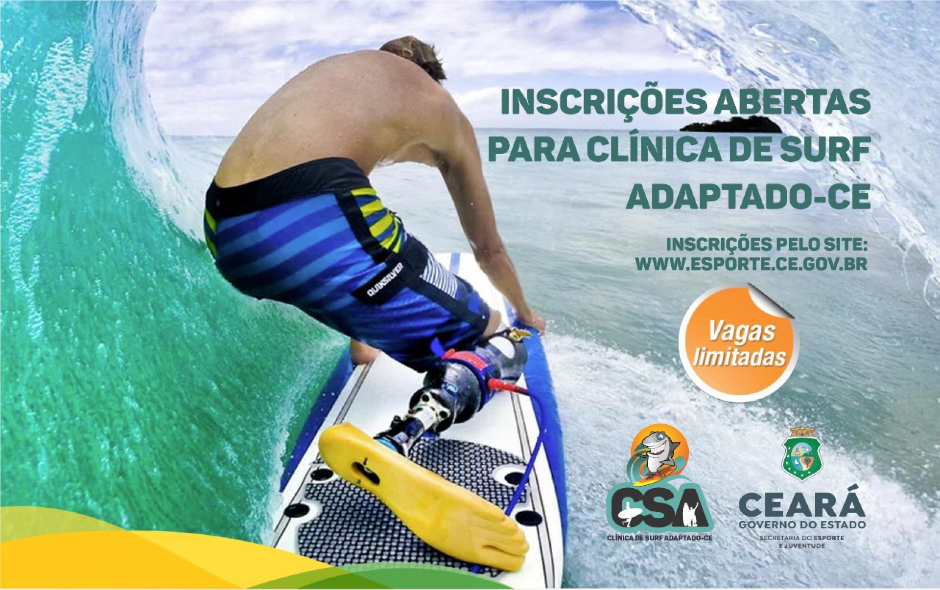 Sejuv/CE oferta clínica de surf adaptado