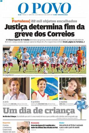 Capa do O POVO em 12 de outubro de 2011