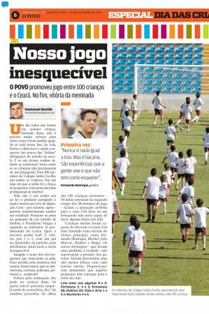 Capa do caderno de esportes do O POVO em 12 de outubro de 2011