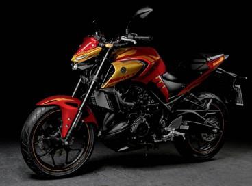 Yamaha | Marvel: a MT-03 Homem de Ferro, com carenagem inspirada na armadura do Homem de Ferro, trazendo a cor vermelha como base e grafismos em dourado
