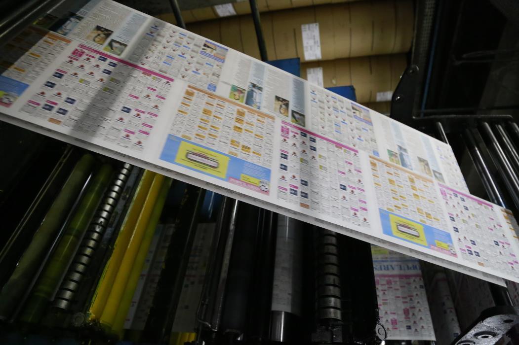 Processo de impressão do jornal. Parque gráfico do jornal O POVO, em Maracanaú. (Foto: Tatiana Fortes/ O POVO)