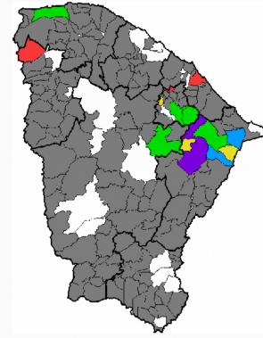 Mapa de chuvas registradas no Ceará entre as 7 horas de domingo, 10, até as 7 horas desta segunda-feira, 11
