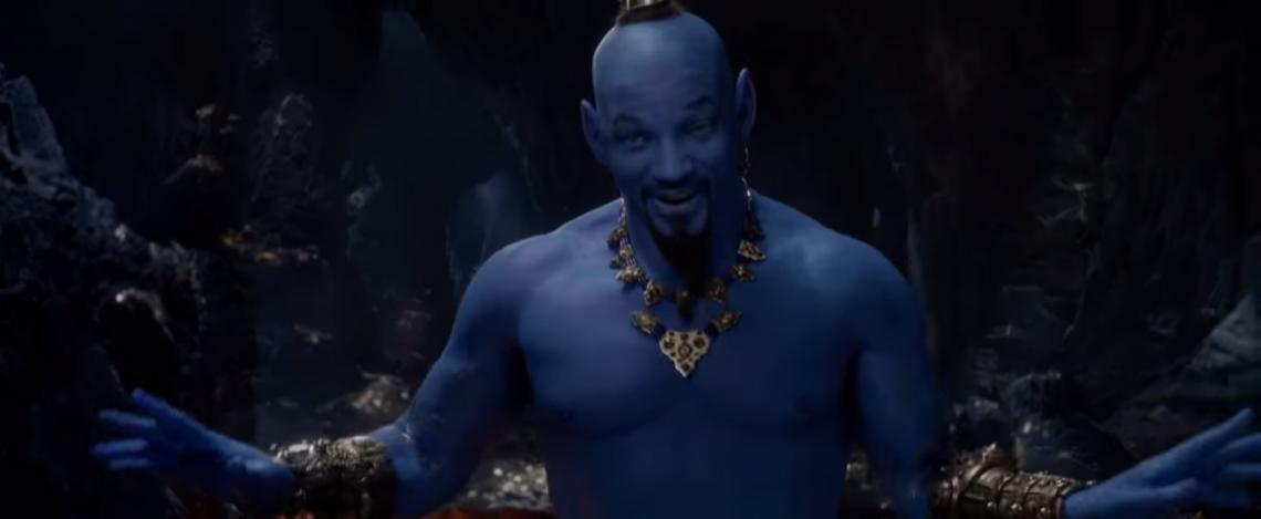 O novo trailer mostra, pela primeira vez, Will Smith em cor azul, como o Gênio do desenho clássico (Foto: Reprodução/Disney)