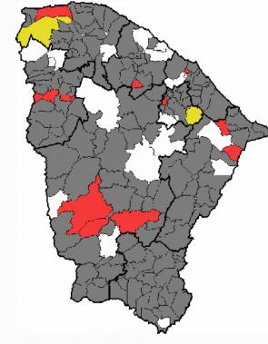 Apenas 13 municípios registraram chuvas nesta terça-feira, 12