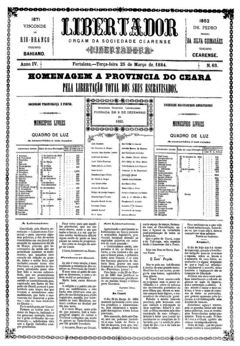 Jornal registra libertação total dos escravizados no Estado