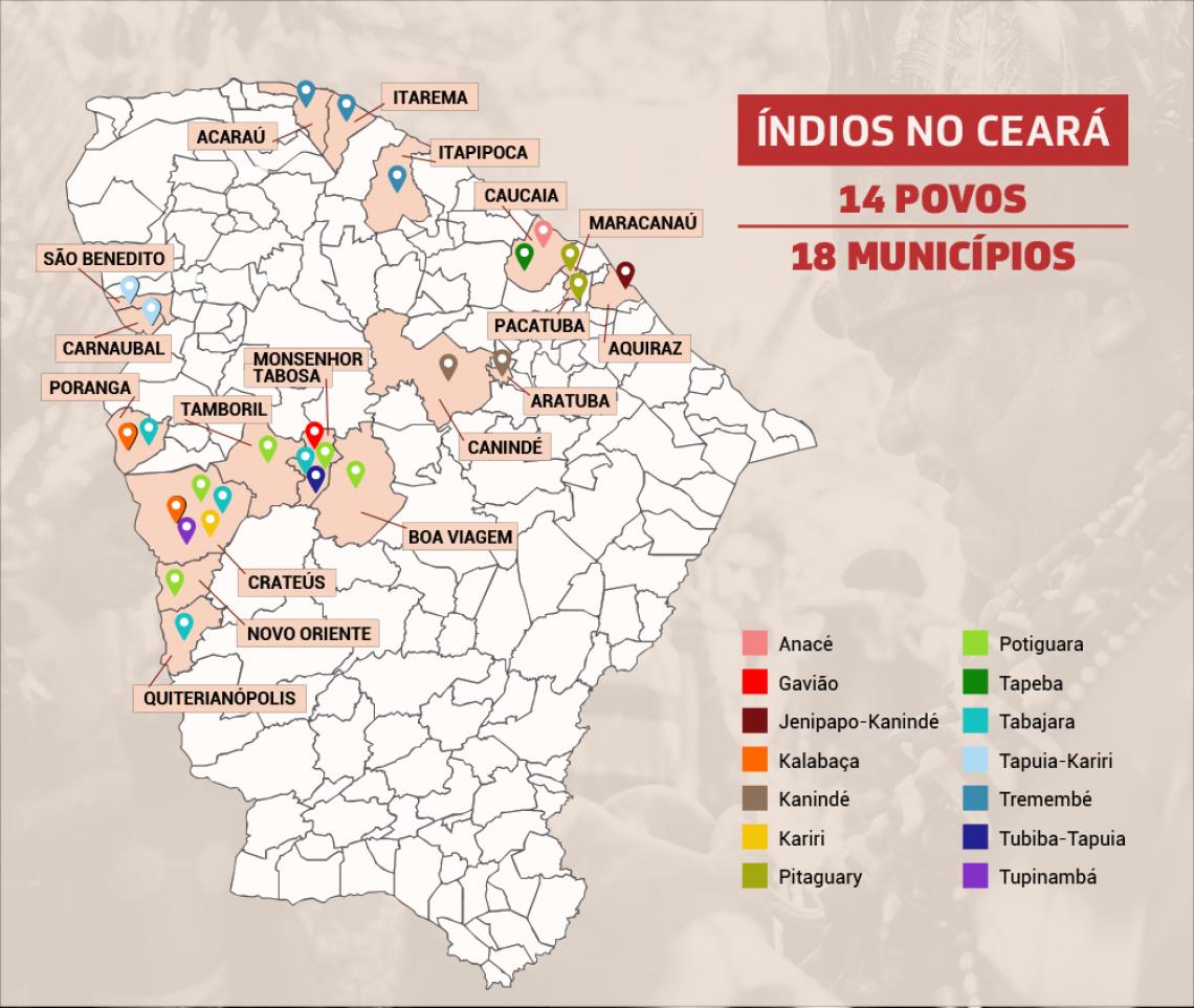Mapa mostra os 14 povos indígenas que entram para a contagem oficial