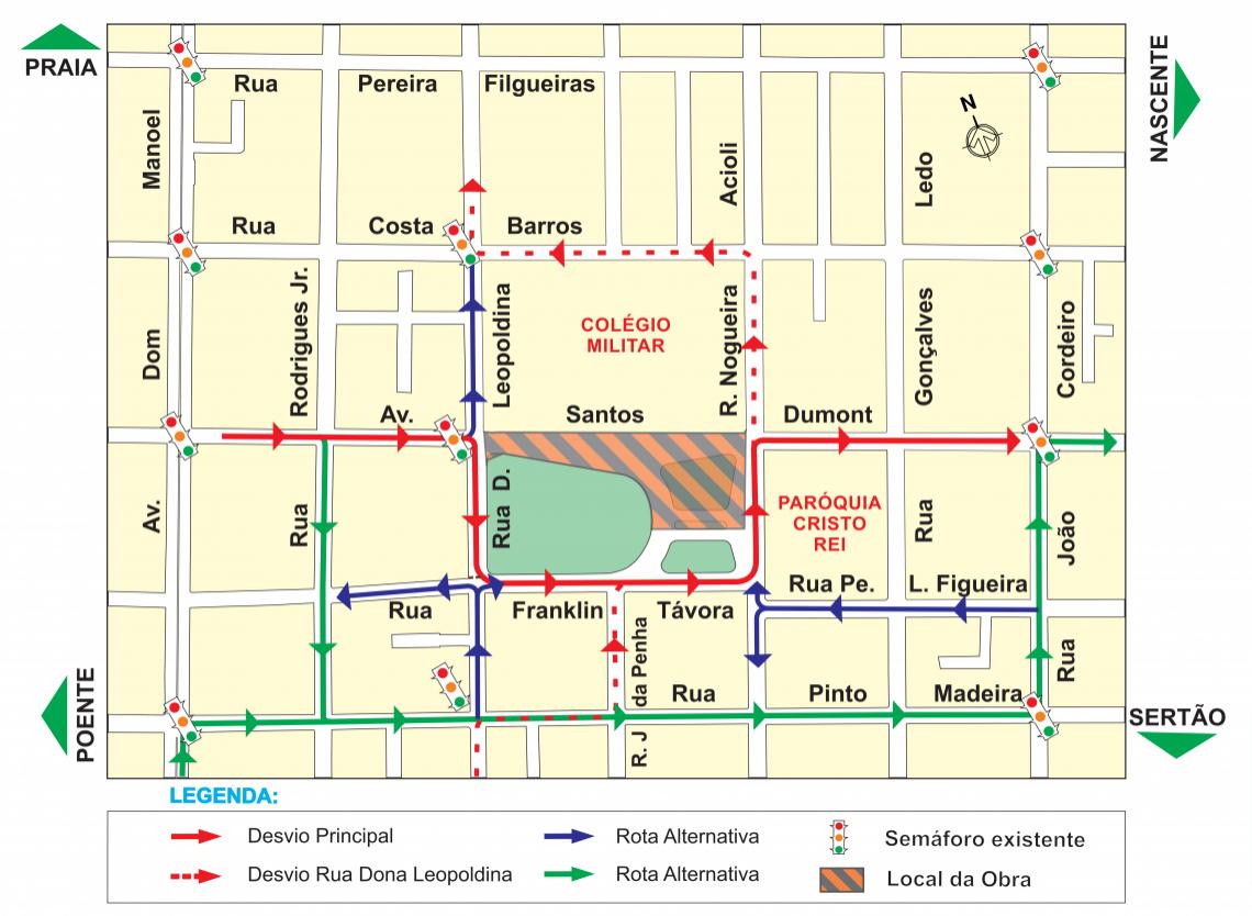 Mapa da interdição Estação Colégio Militar