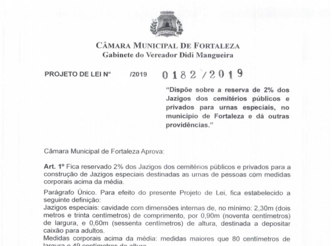 Captura de tela do projeto de lei apresentado pelo vereador Didi Mangueira