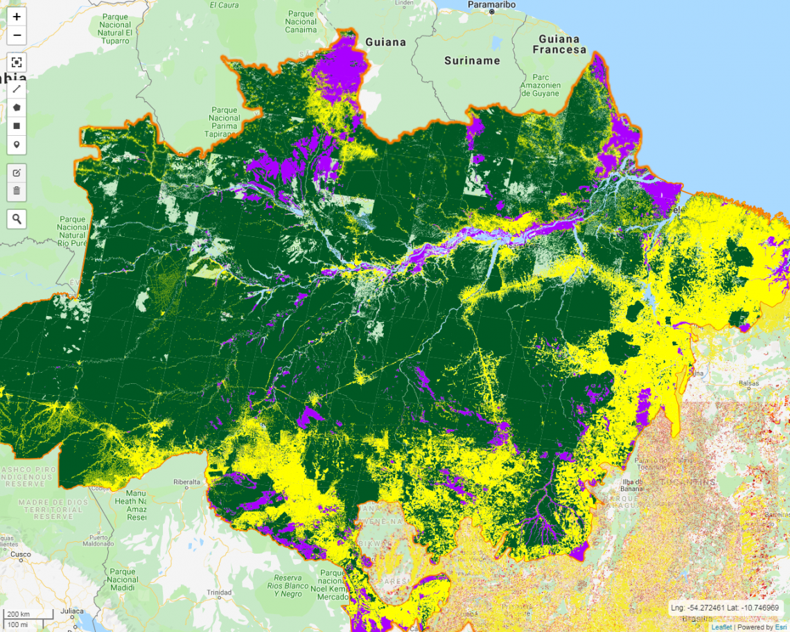 Site do Inpe com visualização do desmatamento acumulado (em cor amarelo) na Amazônia.