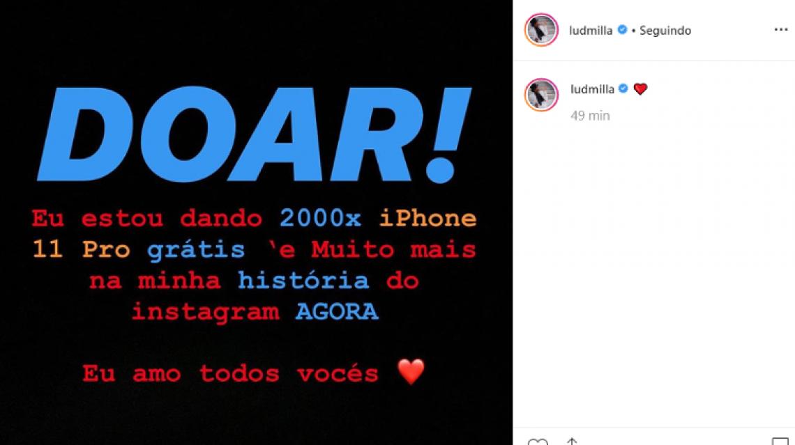 Hackers invadiram o Instagram da cantora Ludmilla na manhã desta quarta-feira, 23.