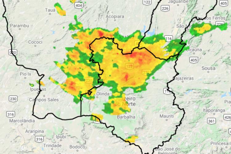 Chuva forte sobre a região sul do Estado. Registro feito às 7h50min desta quarta-feira, 5