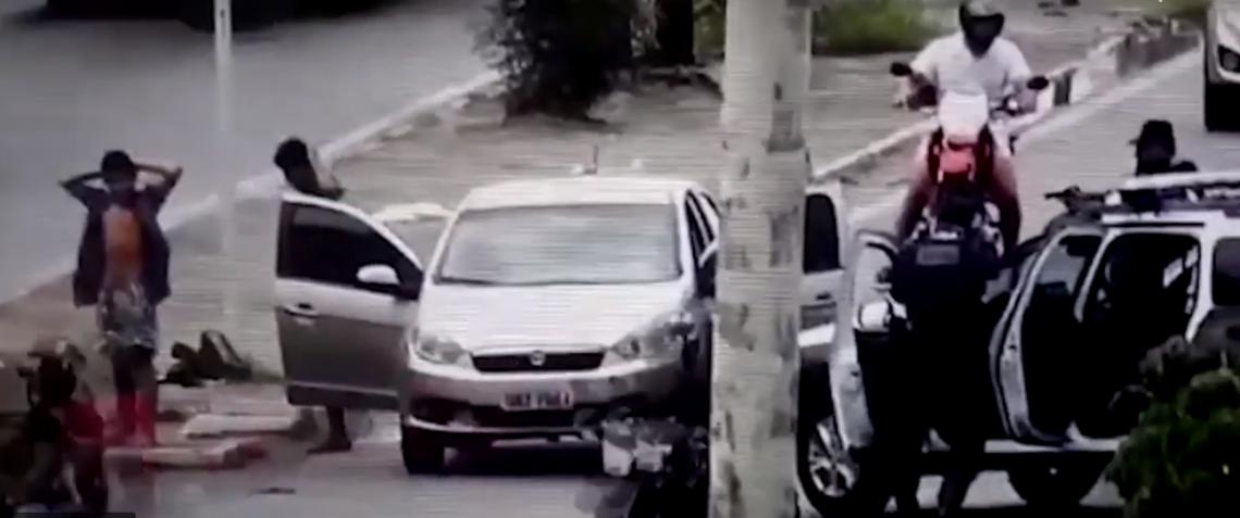 O carro foi visualizado pelos operadores do Núcleo de Videomonitoramento da Coordenadoria Integrada de Operações de Segurança (Ciops)