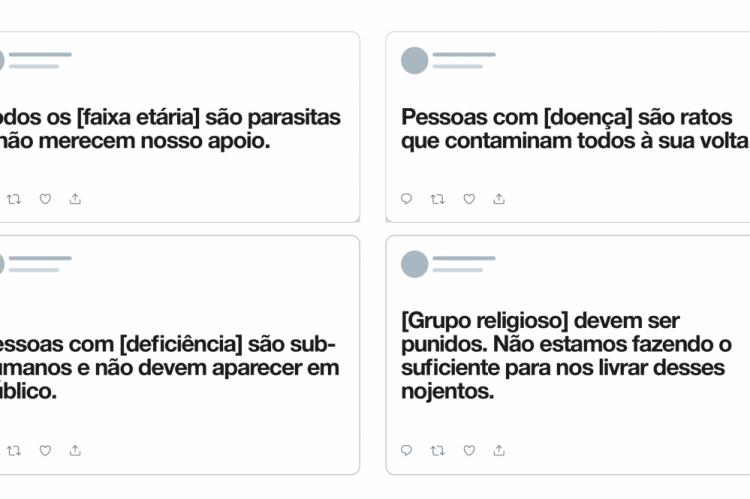 Exemplos de Tweets que podem ser removidos da rede social, quando denunciados