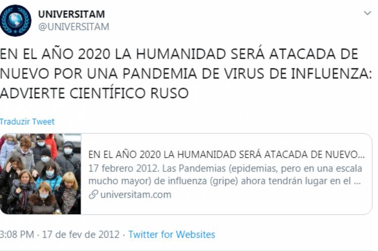O tweet foi publicado em 17 de fevereiro de 2020