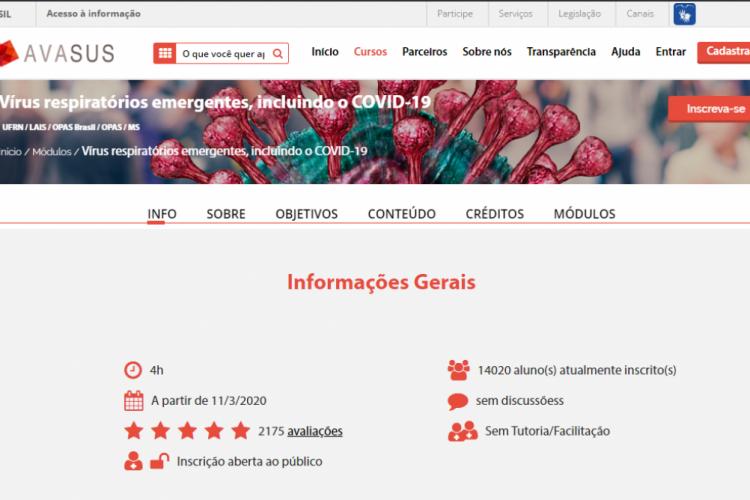 O curso é gratuito e aberto ao público (Foto: Ministério da Saúde/Divulgação)