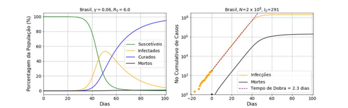 Gráfico que projeta o número de mortos e infectados