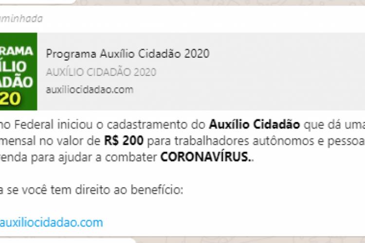 Mensagem falsa via WhatsApp não é o primeiro golpe relacionado ao coronavírus (Foto: WhatsApp O POVO)