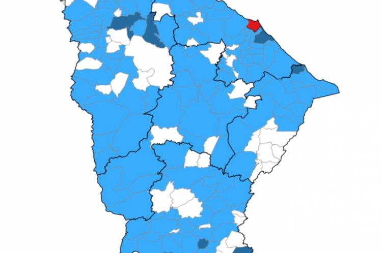 Mapa distribui os casos no Estado