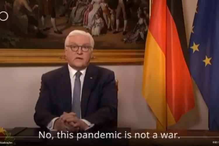 Presidente da Alemanha grava vídeo sobre o enfrentamento do coronavírus na Europa (Foto: Reprodução/DW News)