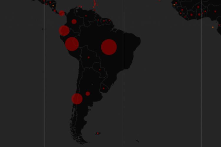 Mapa mostra em tempo real a evolução dos casos confirmados de pessoas contaminadas por coronavírus na América do Sul (Foto: Reprodução/© OpenStreetMap, © CARTO / Mundo)