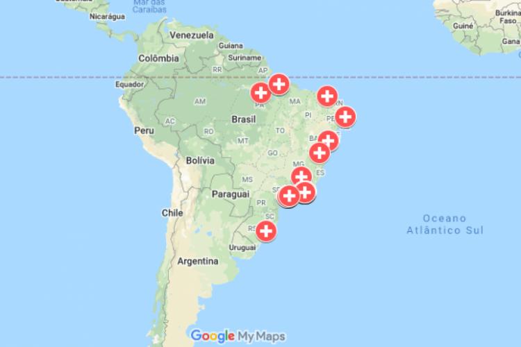 Mapa organiza iniciativas em periferias brasileiras contra a Covid-19 (Foto: Google Maps/Corona nas Periferias)