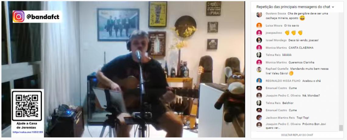 Sávio se reuniu em casa, sem demais aglomerações, por uma boa causa (Foto: Reprodução/Youtube)