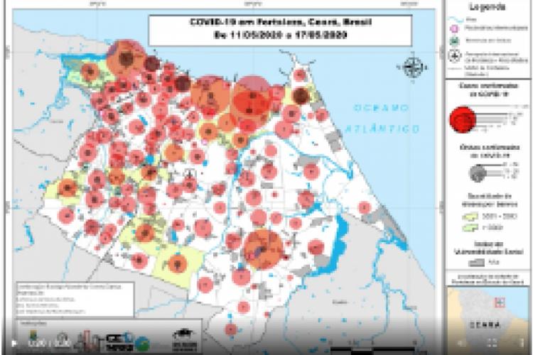 Mapa criado pelo departamento de geografia da Ufc (Foto: Divulgação)