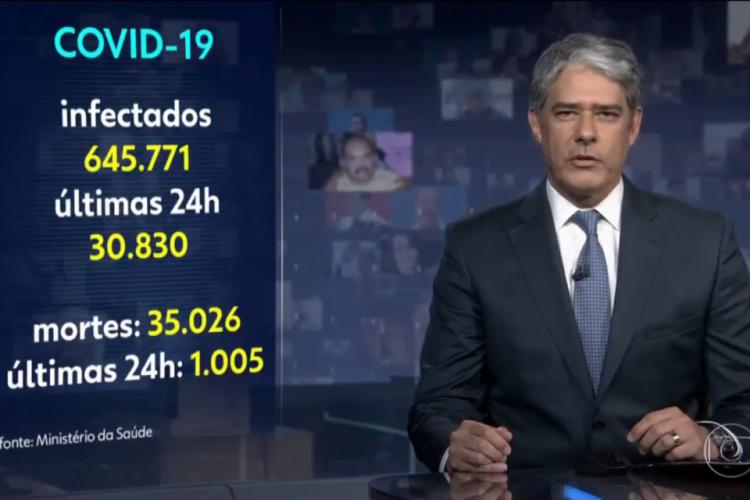 William Bonner informou que, conforme prometido, a emissora estava divulgando os dados assim que liberados pelo governo (Foto: Reprodução/Rede Globo)