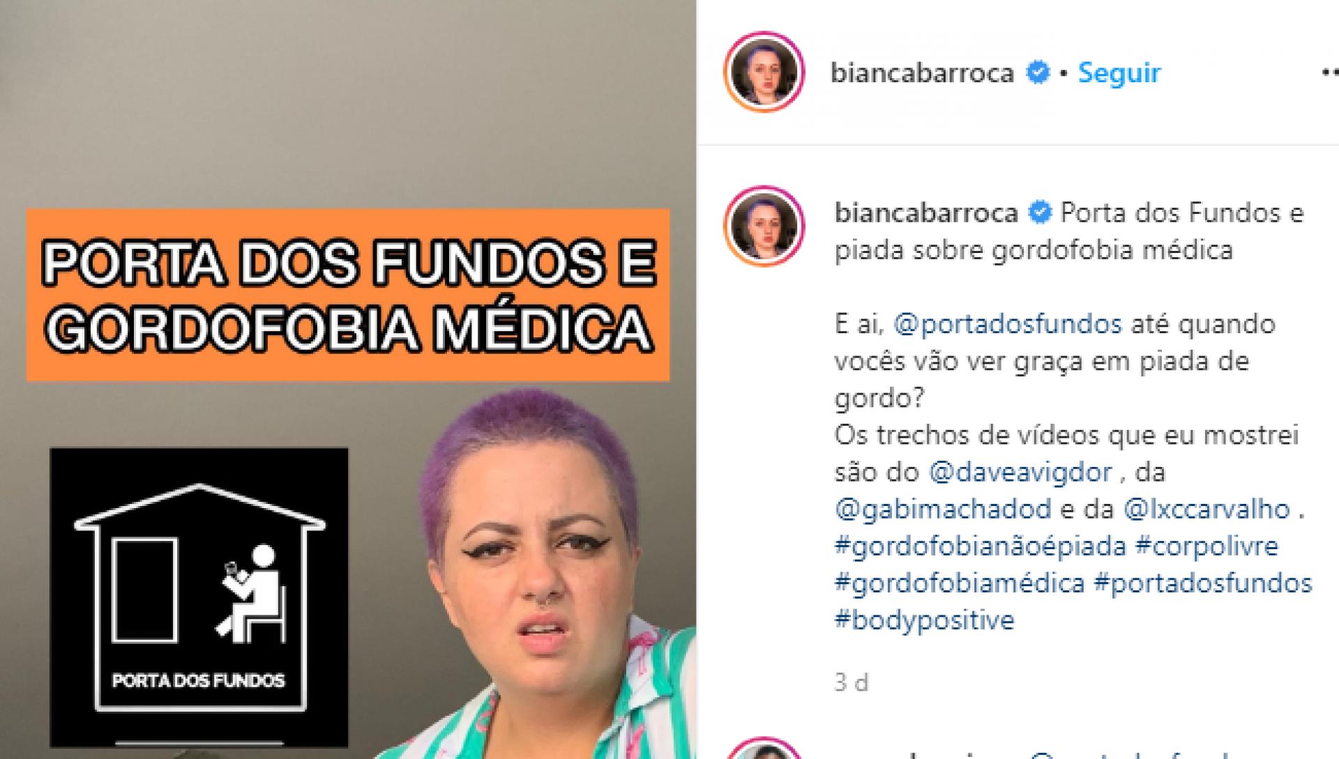 Imagem 1: Bianca fez vídeo sobre conteúdo gordofóbico do canal Porta dos Fundos.