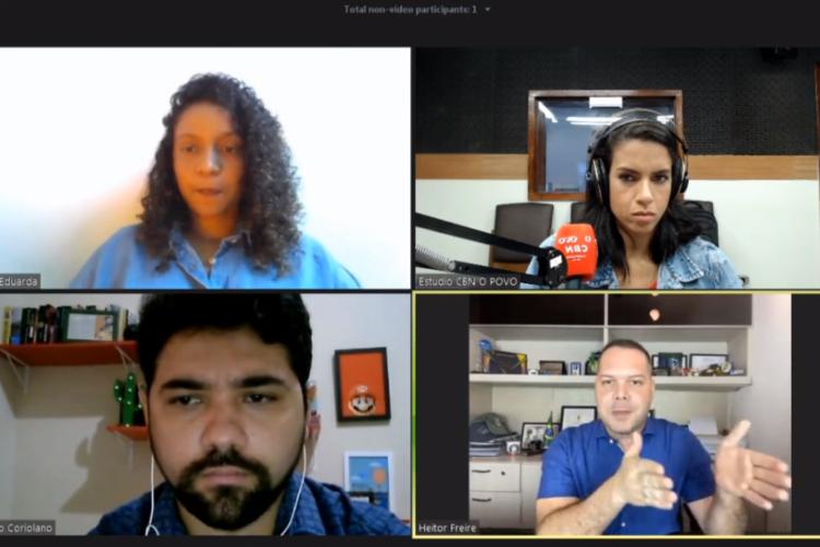 Heitor Freire entrevistado por jornalistas em série da rádio O POVO/CBN com pré-candidatos em Fortaleza (Foto: Reprodução/Facebook)