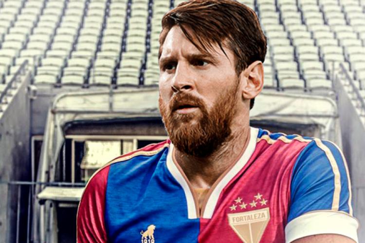 Fortaleza publicou uma montagem de Messi com o uniforme tricolor (Foto: Reprodução/ Twiter Fortaleza )