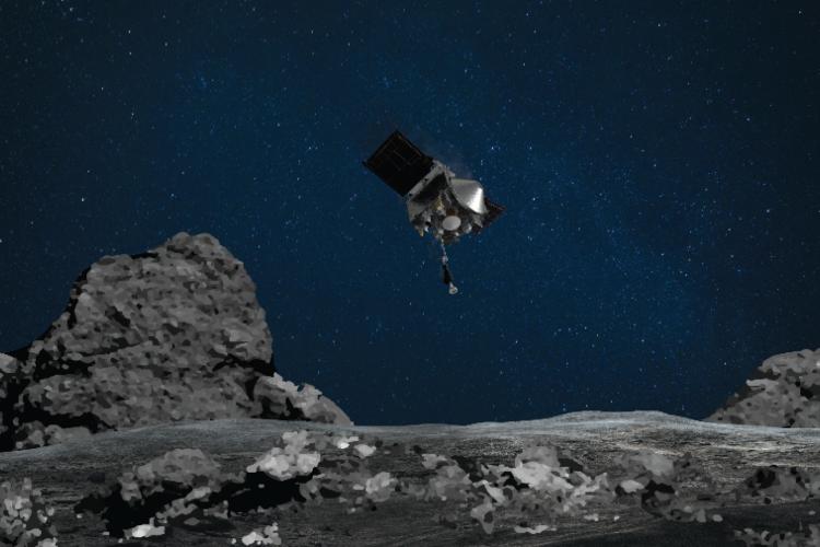 Ilustração mostra sonda Osiris-REx se aproximando do asteroide Bennu. (Foto: Divulgação/Nasa)