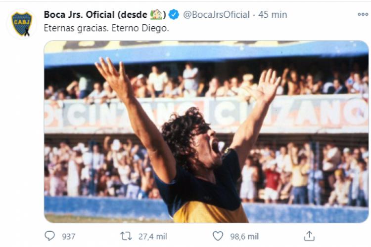 Boca Juniors se despede  (Foto: REPRODUÇÃO/TWITTER)