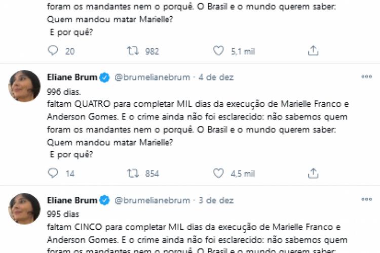 Diariamente, Eliane Brum se juntou ao coletivo que pede por explicações sobre o caso Marielle Franco.  (Foto: Reprodução/Twitter)