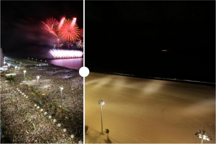 Aterro da Praia de Iracema no Réveillon de 2019 para 2020 e na passagem de 2020 para 2021 (Foto: FABIO LIMA/AURÉLIO ALVES/O POVO)
